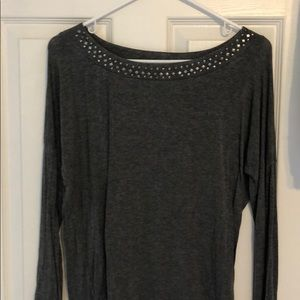 Grey long sleeve with neck embellishment